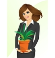 business woman holding chlorophytum vector image vector image