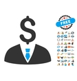 Businessman Icon With 2017 Year Bonus Pictograms vector image vector image