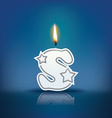 Candle letter s with flame vector image