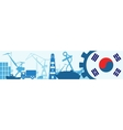 Cargo port relative icons set Korea flag in gear vector image vector image