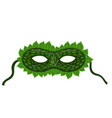 carnival mask with leaves isolated on a white vector image