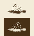 chicken sitting on nest cut out icon vector image vector image