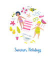 childish summer beach vacation card with kids vector image