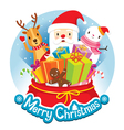 Christmas Circle Banner And Decoration vector image