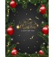 christmas pine tree and red ornaments card vector image vector image