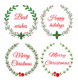 christmas wreath frames vector image vector image