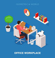 colored 3d isometric office workplace vector image vector image