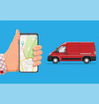 delivery van and smartphone with navigation app vector image