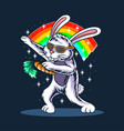 easter bunny dabbing wearing glasses and carrying vector image vector image