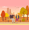 elderly couple spend time in autumn city park