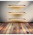 Empty three wood shelf on wall EPS 10 vector image vector image