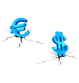 Euro and dollar signs down vector image vector image