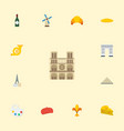 flat icons ornament palette cap and other vector image