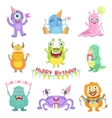 Friendly Monsters With Birthday Party Attributes vector image