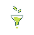 funneling growth leaf organic logo icon vector image