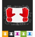 gloves paper sticker with hand drawn elements vector image