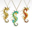 golden seahorses vector image