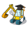 graduation excavator character cartoon style vector image