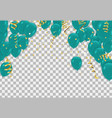 green balloons confetti and ribbons celebration vector image