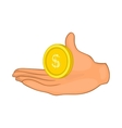 Hand with coin icon cartoon style vector image