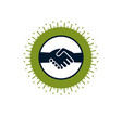 handshake two hands business deal and friendship vector image vector image