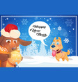 happy winter holidays banner background with cute vector image vector image
