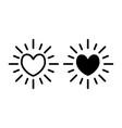 heart sun line and glyph icon shining heart vector image