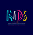 kids doodles style font vector image vector image