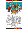 knights of the round table coloring page vector image