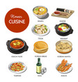 korean cuisine traditional dishes flat icons vector image