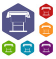 large format inkjet printer icons set vector image vector image