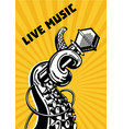 live music octopus tentacles with microphone vector image vector image