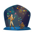 man and monkey jugglers in big top circus vector image vector image