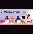 mix race businesswomen colleagues working together vector image vector image