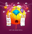 moon rabbits for celebration mid autumn festival vector image