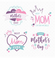 mothers day pink quote typography set isolated vector image