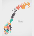 norway map with states and modern round shapes vector image vector image