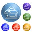 open brand box icons set vector image