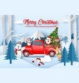 origami paper art santa claus with friend vector image vector image