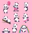 panda kids little funny bear sweet animals vector image