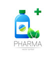 pharmacy symbol with blue bottle and green vector image vector image