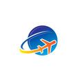 plane fly cloud aero logo vector image