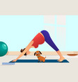 pregnant woman doing yoga with her dog vector image