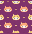 seamless pattern background with cats and crowns vector image