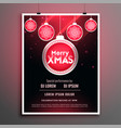 stylish red merry christmas party flyer design vector image vector image