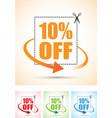 ten percent arrow set vector image