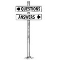 two arrow sign drawing of question or answers vector image