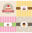 Vintage Cupcake Cards Set vector image