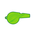 whistle sign lemon scribble icon on white vector image vector image
