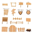 Wooden cartoon signs vector image vector image